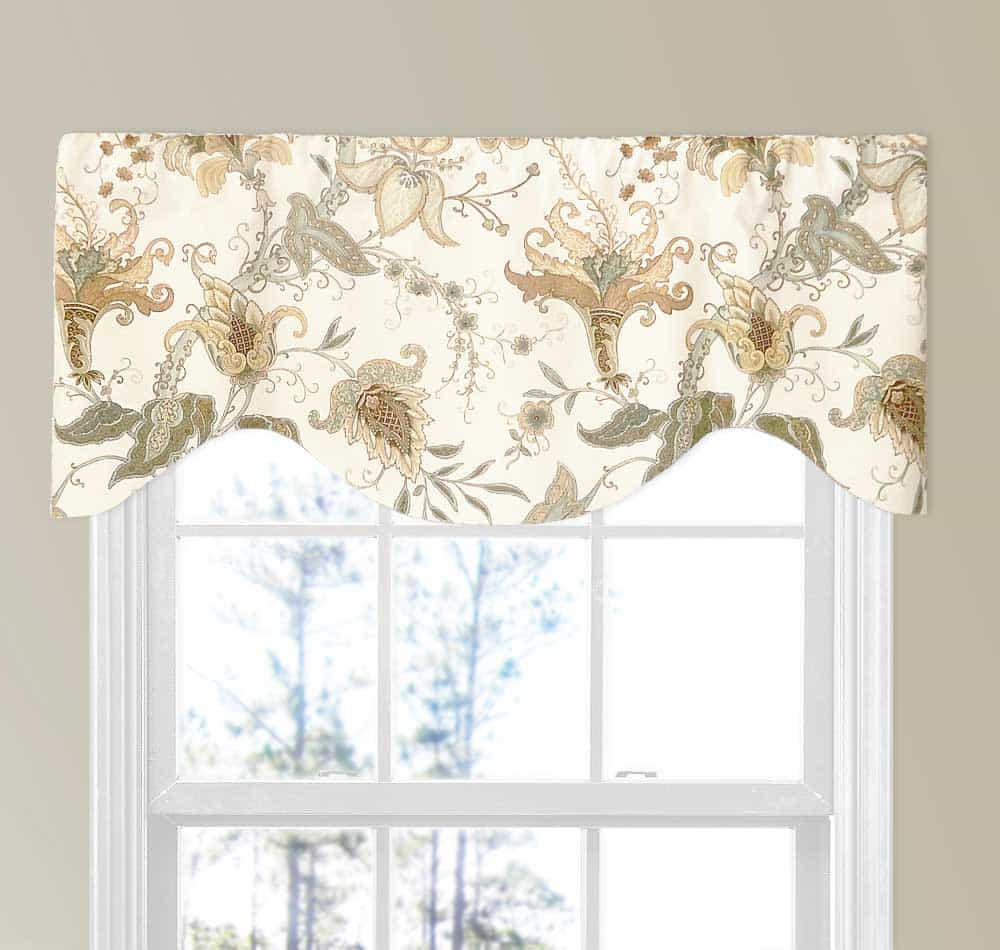 Spa And Light Brown Jacobean Floral Valance