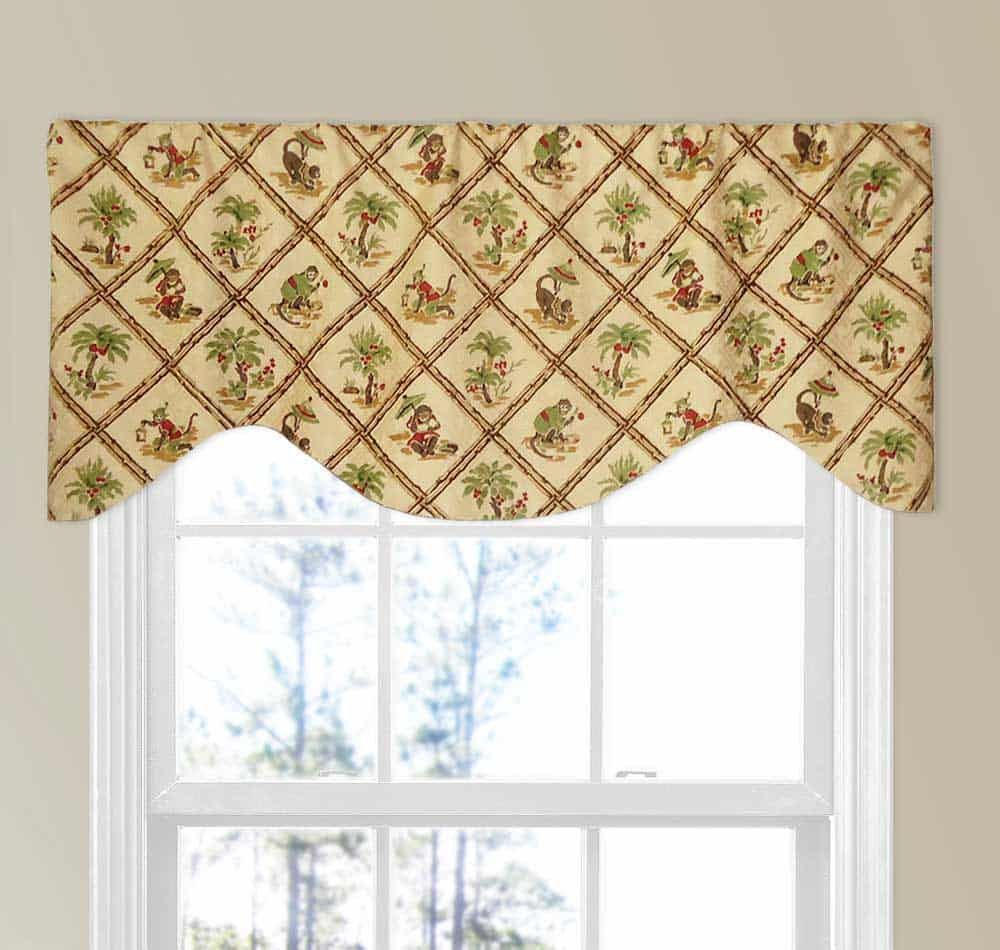 M-Shaped Window Valance with Rod Pocket, 18 Inches Long