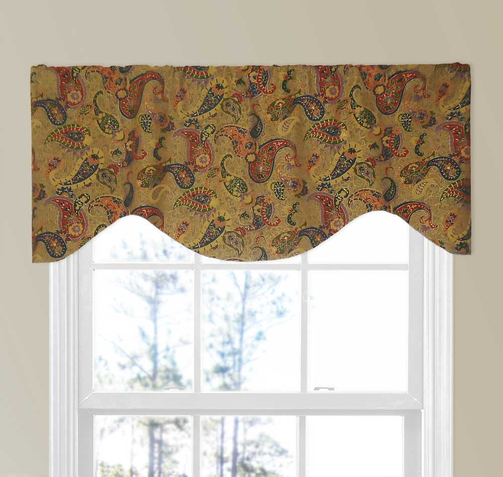 Colorful Paisley Valance With Gold Metallic With Slubs