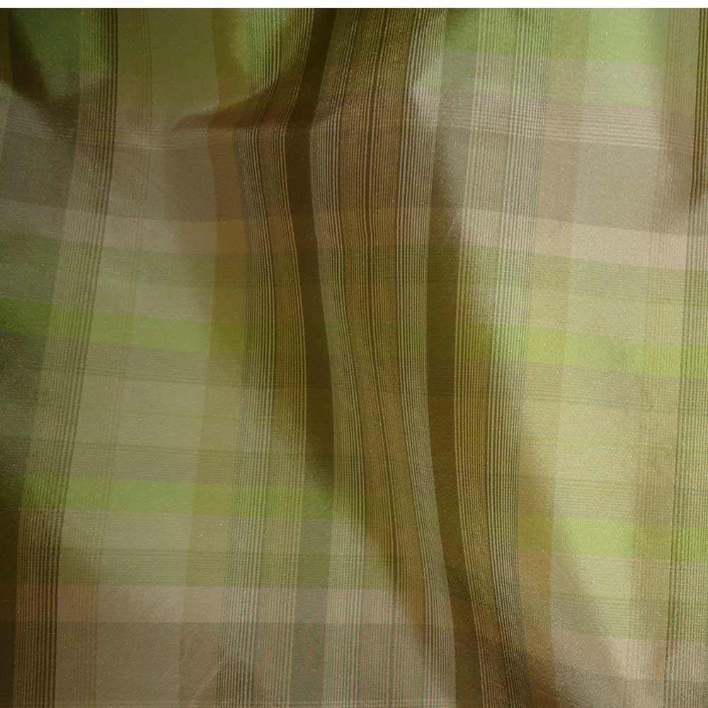 100 Silk Plaid Olive Green And Soft Brown Valance