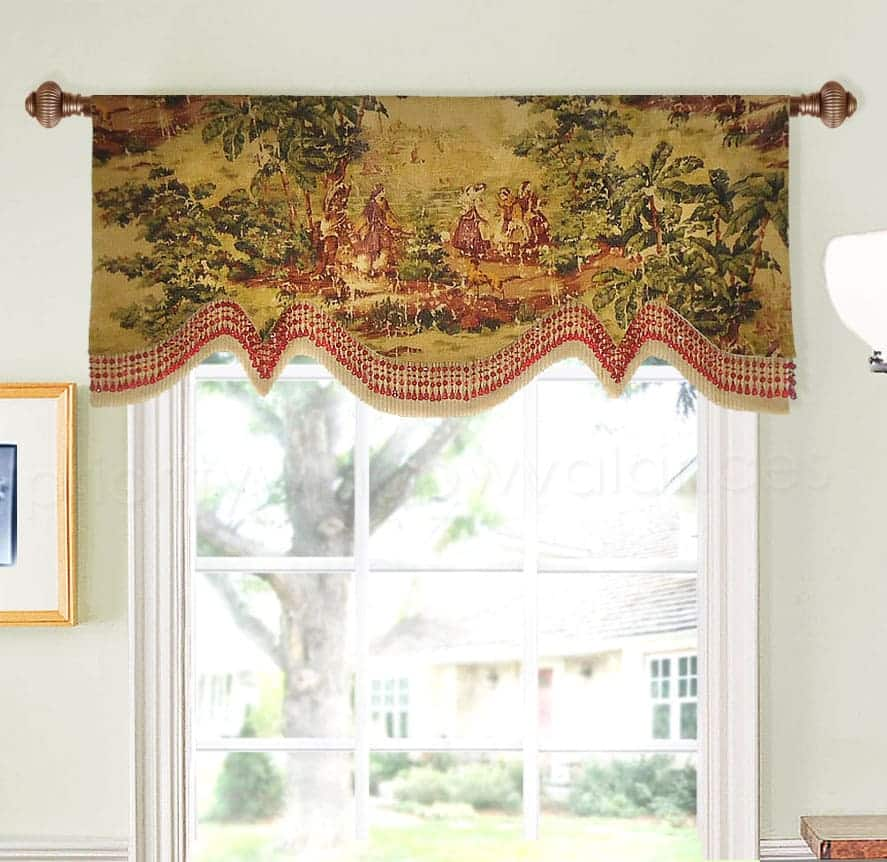 Linen Toile Arched Window Valance