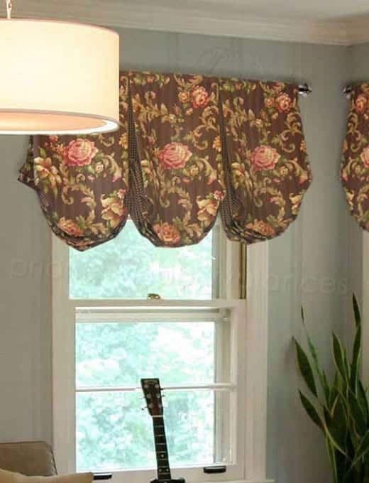 Custom Balloon Valance in Traditional Brown and Pink Fabric