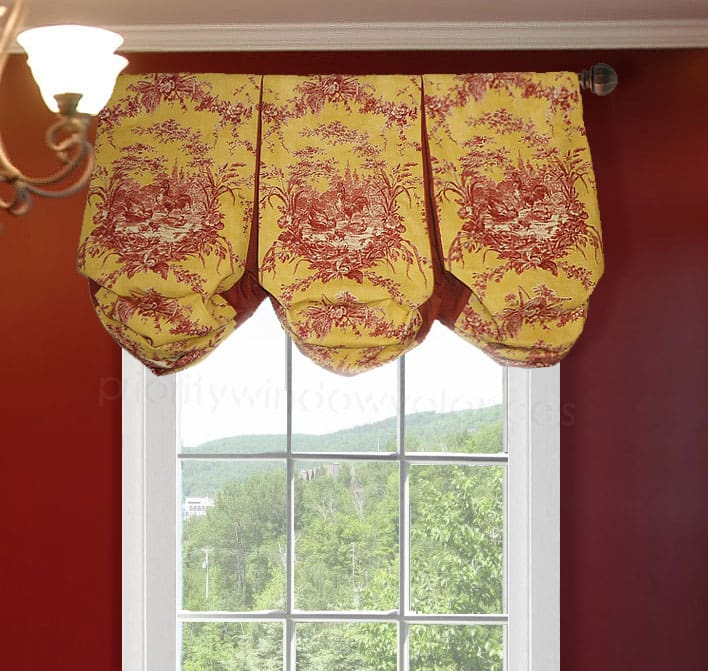 Red and Yellow Toile Balloon Custom Valance
