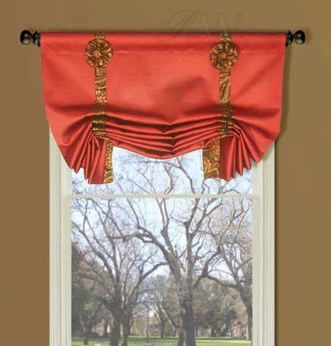 Red Rod Pocket London Valance with Paisley Bows