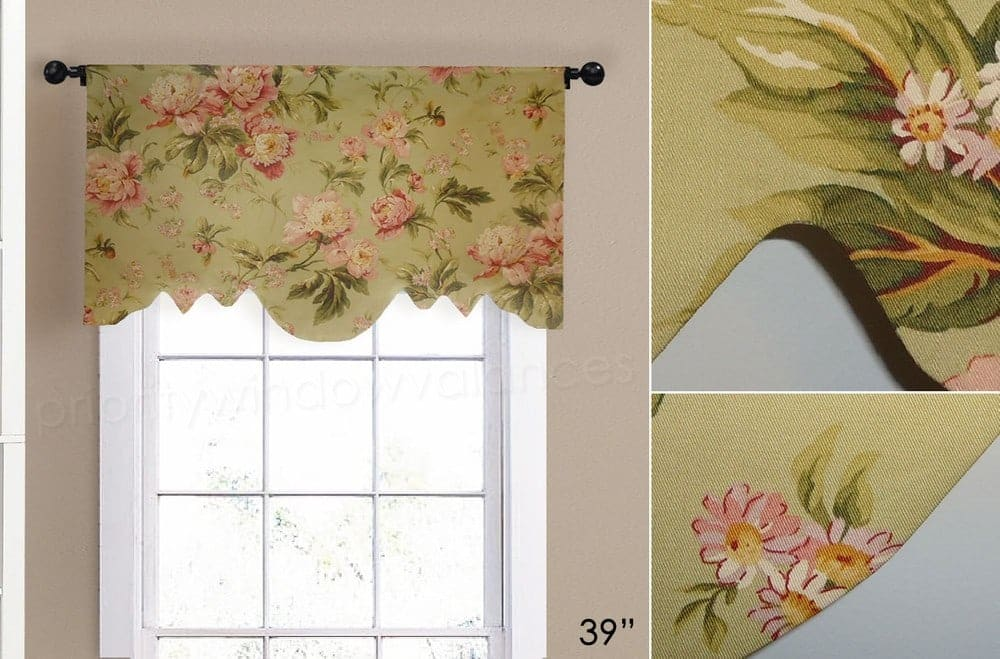 Green and Pink Flower Arched Valance