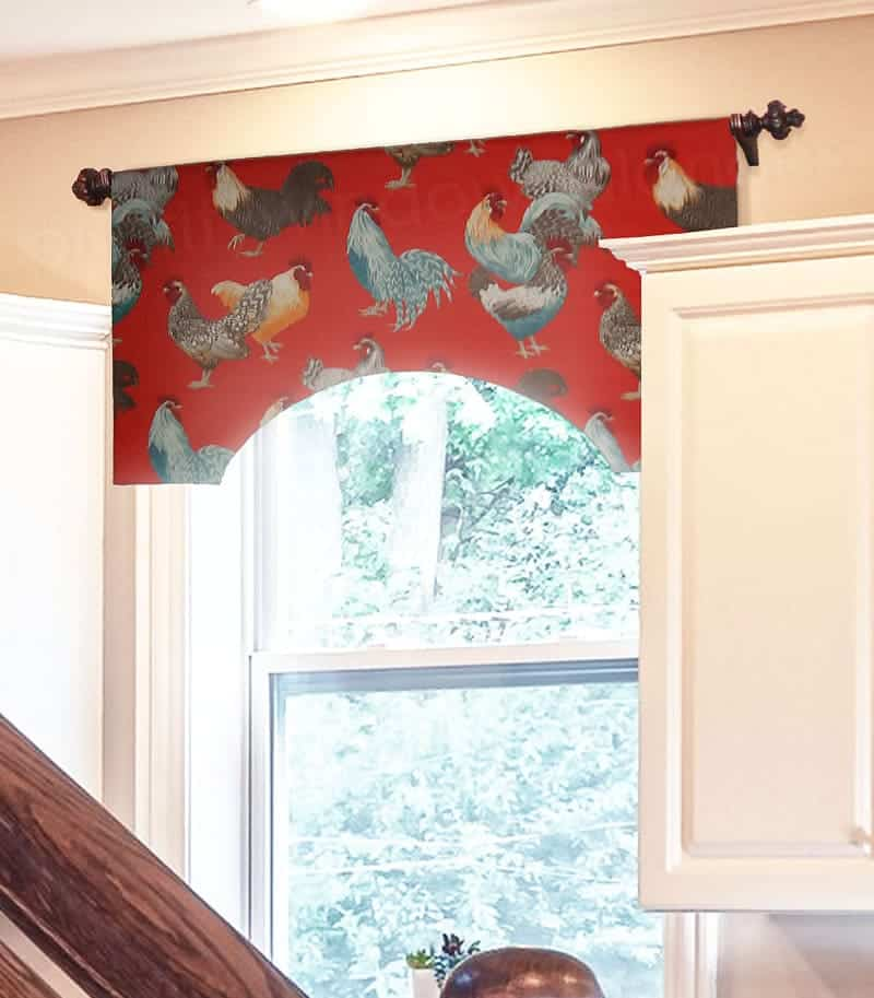 Red Arched Window Valance Over Kitchen Sink