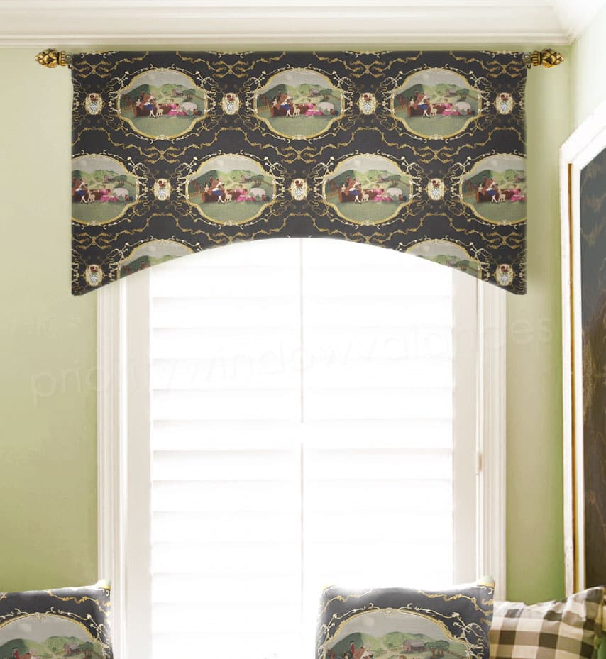 Arched Custom Valance in Black and Gold Toile
