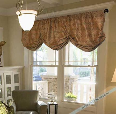 Faux Silk Valance Curtain in Antique Gold