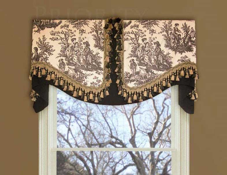Black and White Valance Mounted on Board