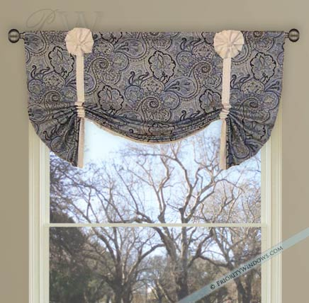 Blue and White Paisley Valance with White Bows
