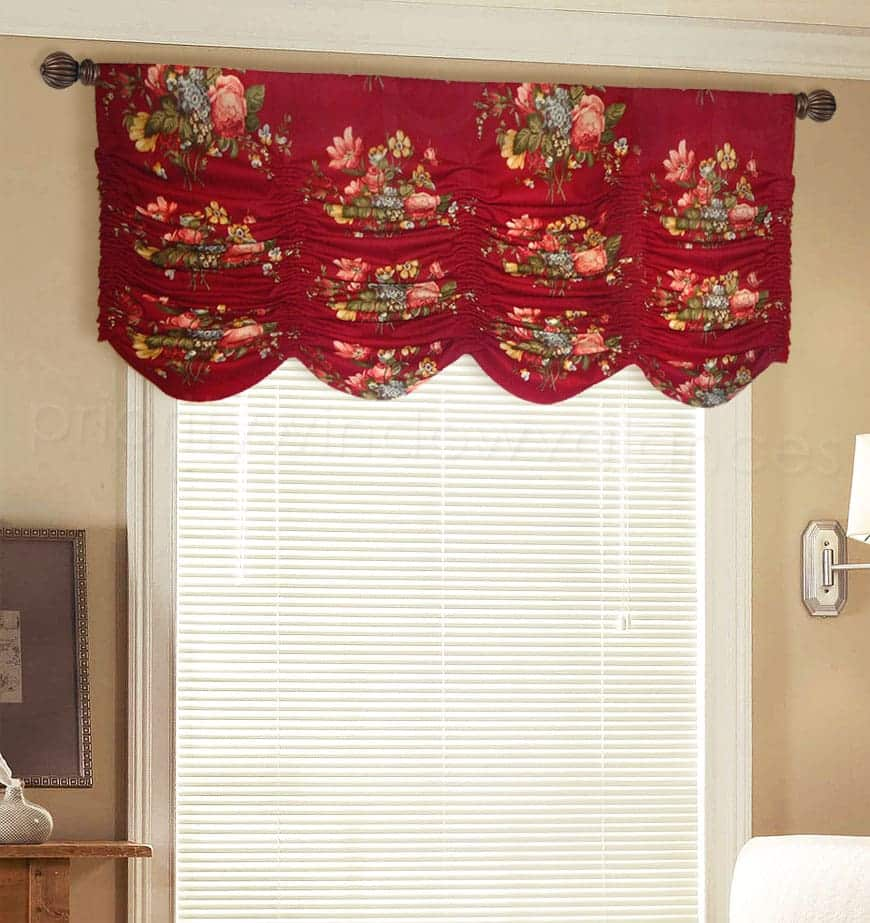Red Floral Arched Valance