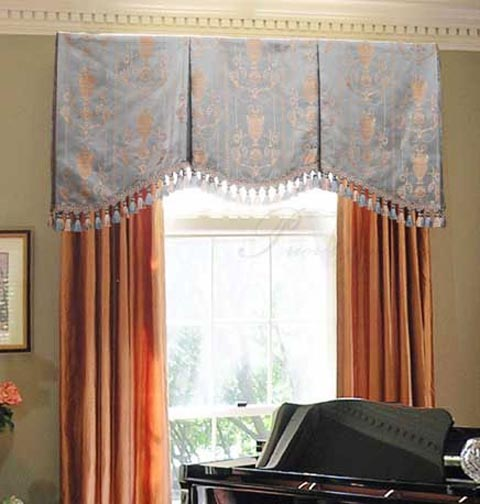 Blue Arched Window Valance