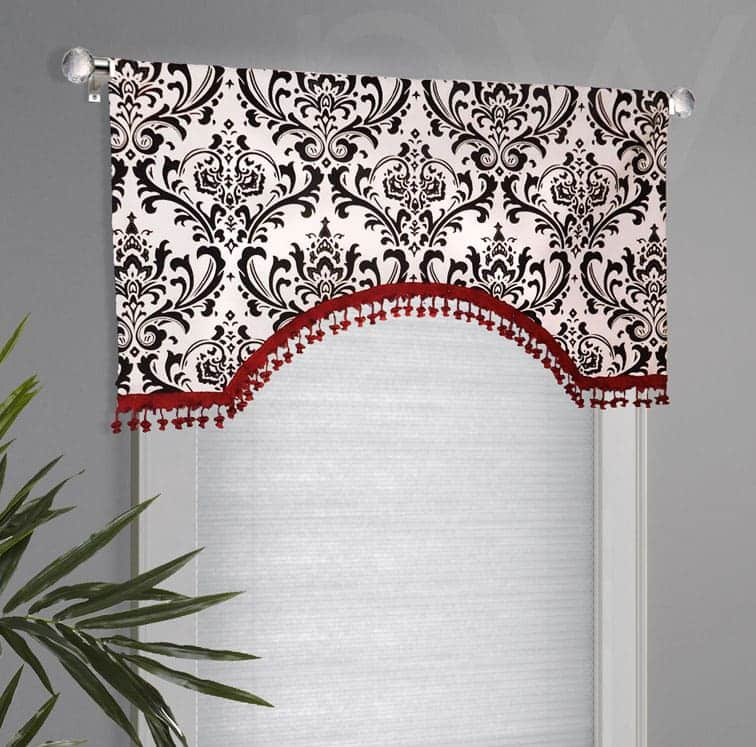 Black, White, Red Valance in Arched Shape