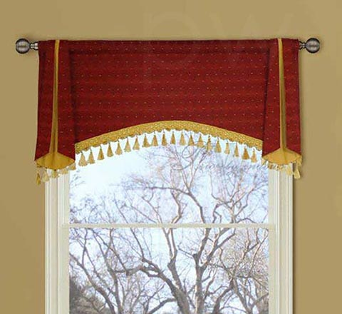 Red and Yellow Arched Window Valance