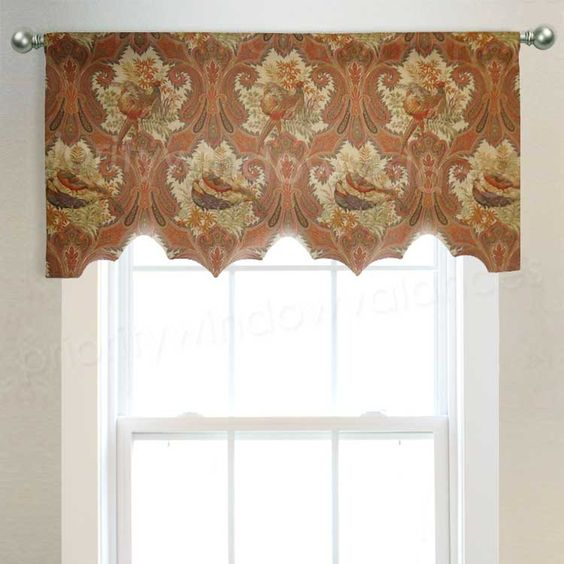 Bird Print Arched Valance