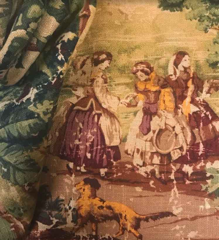 Distressed Toile Pattern on Linen Fabric
