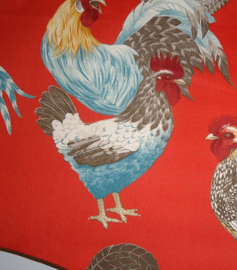 Rooster Toile Fabric Up Close