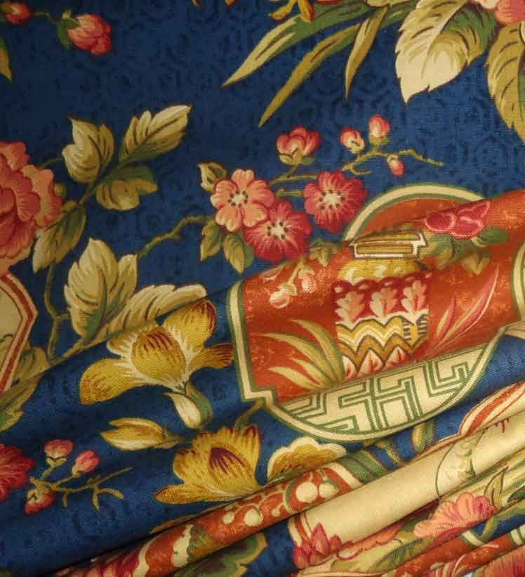 Up-Close Detail of Modern Chinoiserie Fabric