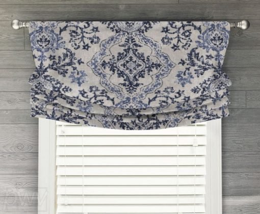 Avalon (Navy or Brown) Faux Relaxed Roman Balloon Valance