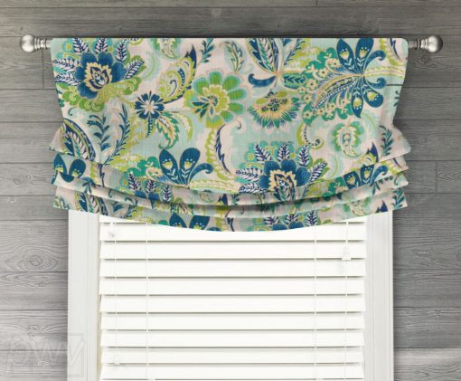 Ayers (Jacobean Floral) Faux Relaxed Roman Balloon Valance
