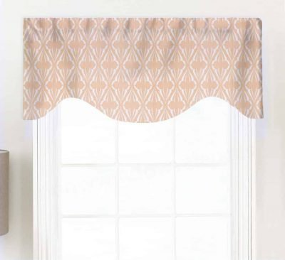 Biscay (Blue, Green, Salmon Pink) Shaped Valance Curtain