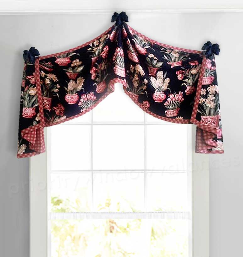 Country Check Arched Window Valance in Black and Red