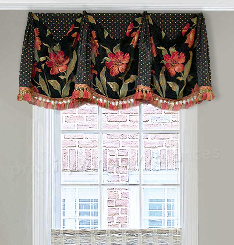 Black and Red Floral Curtain Valance