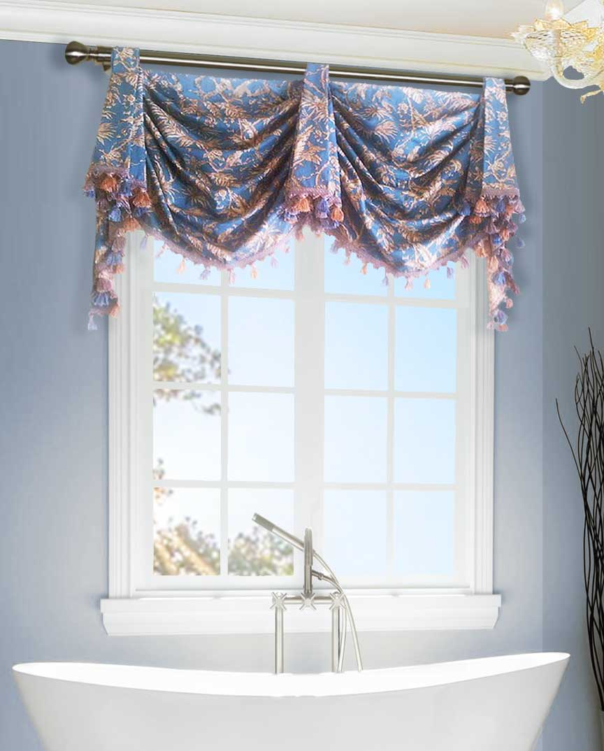 Blue Tab Top Valance Curtain Custom Arched