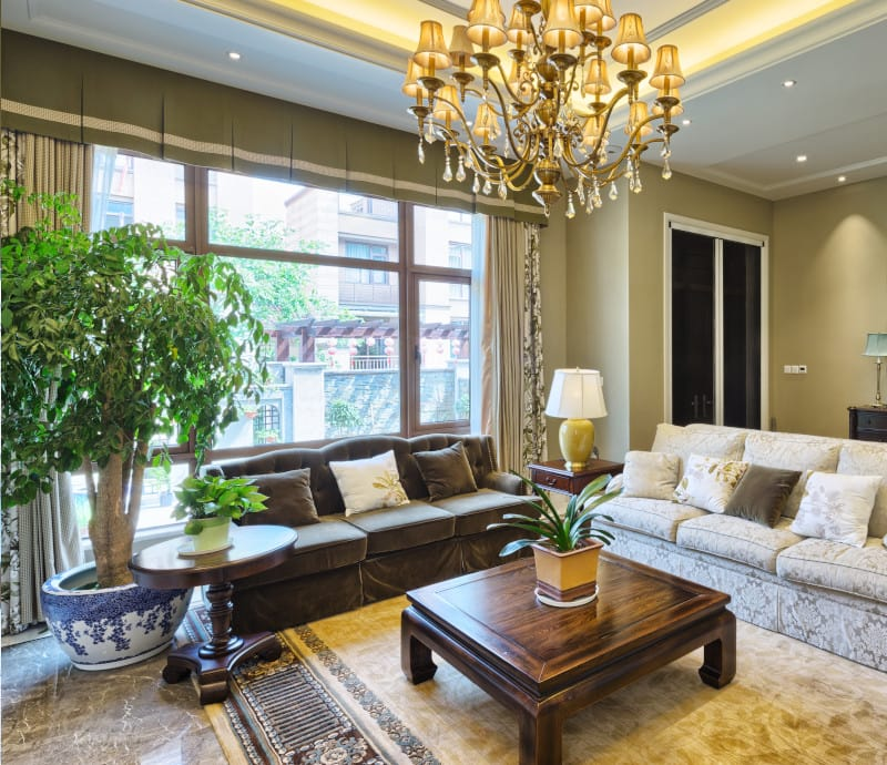 Contemporary Living Room with Extra Wide Window Valance