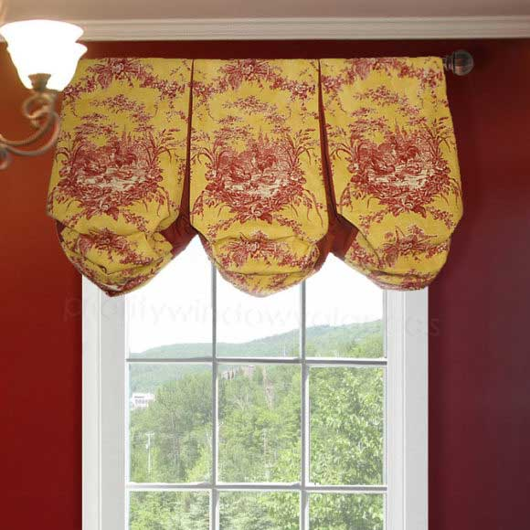 Red and Yellow French Country Valance Curtain