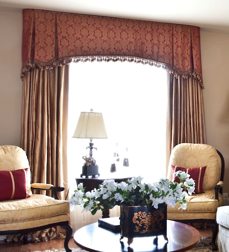 Burgundy and Yellow Living Room Curtains with Arched Window Valance