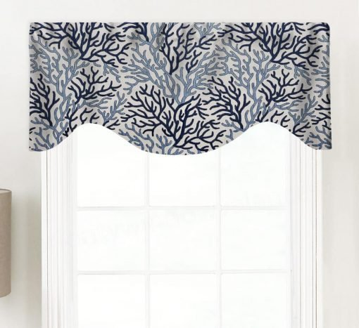 Coral Reef (Blue Beach House Style) Shaped Valance Curtain