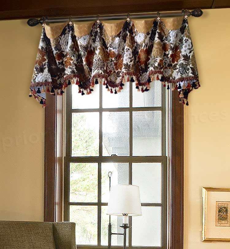 Cuff Top Valance Curtain with Wavy Arches