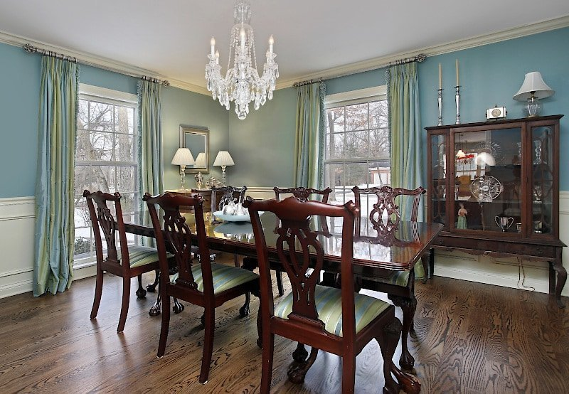 Chippendale Dining Room with Silk Draperies and Blue Walls
