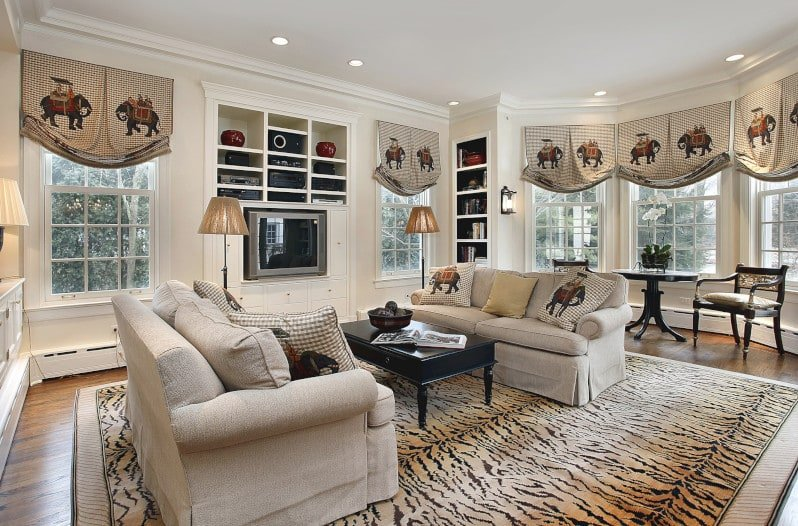 Oriental Elephant Print on Relaxed Roman Shades in Oversized Living Room