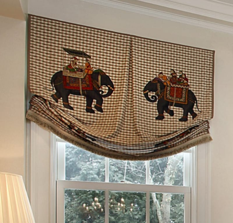 Center Pleat and Brush Fringe Detail on Relaxed Roman Shade Valance