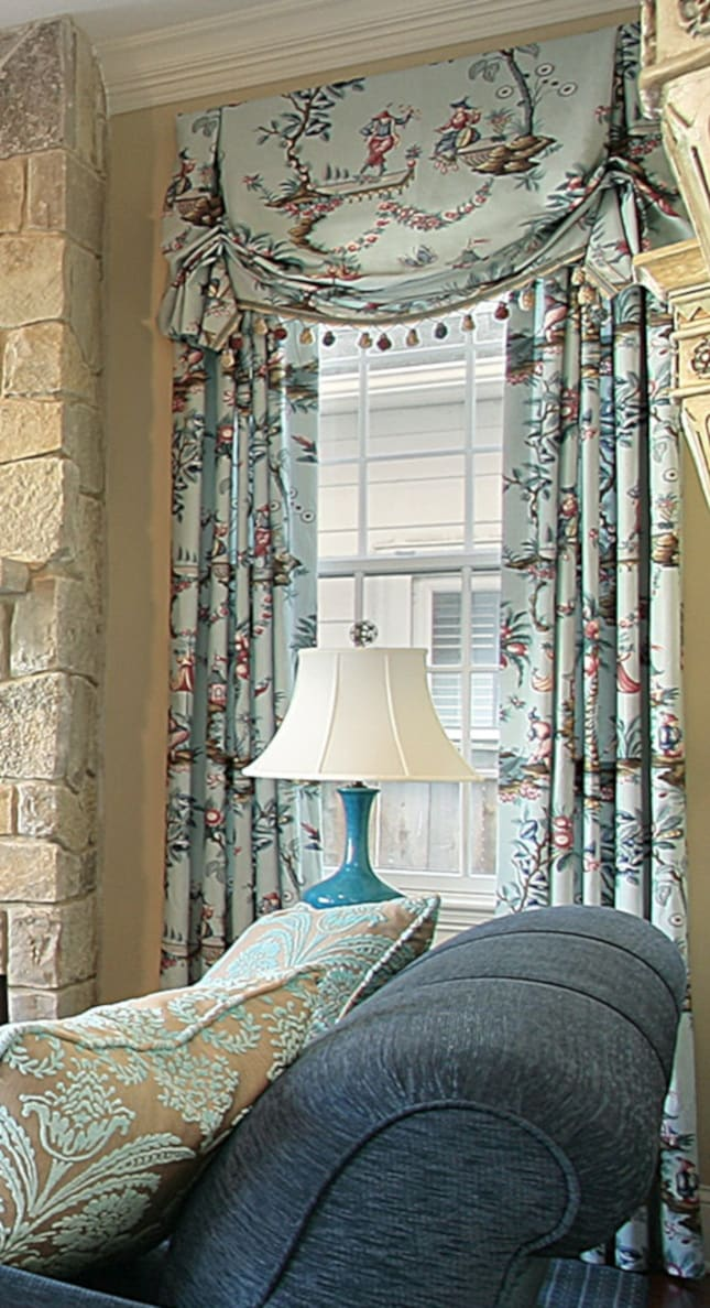 Chinoiserie Toile Valance Curtain