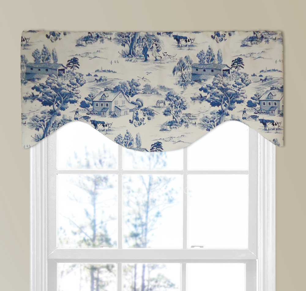 Farmhouse Country Toile Valance In Blue