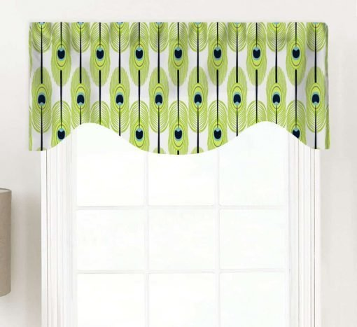 Feathers (Abstract Green Design) Shaped Valance Curtain