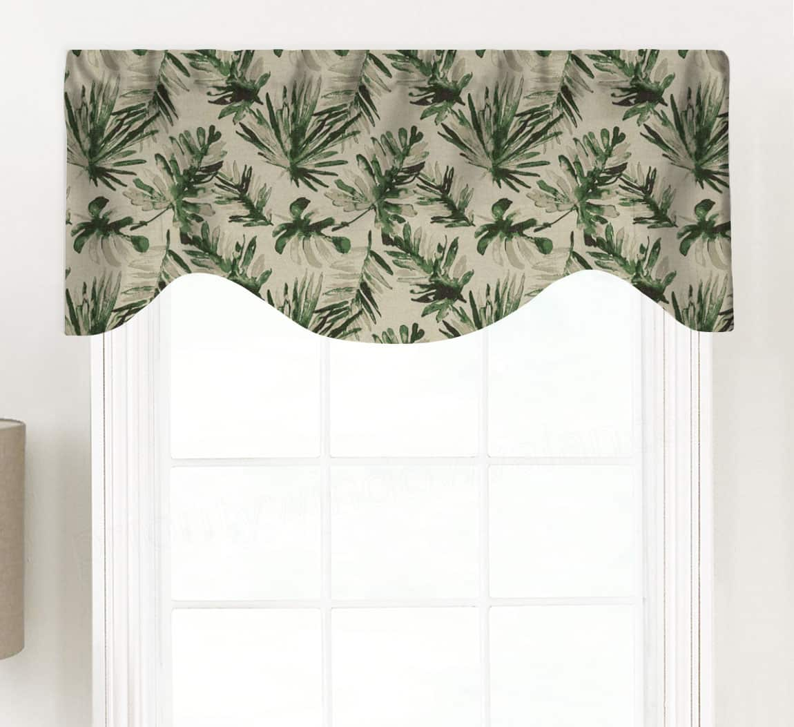 Frond Tropical Palm Fabric Shaped Valance Curtain