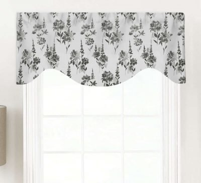 Garden (Traditional Monochromatic Florals) Shaped Valance Curtain