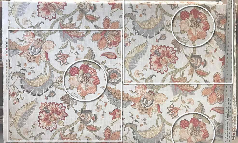 Half Drop Fabric Pattern with Flowers