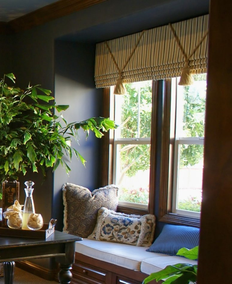 Home Office Roman Shade over Window Seat