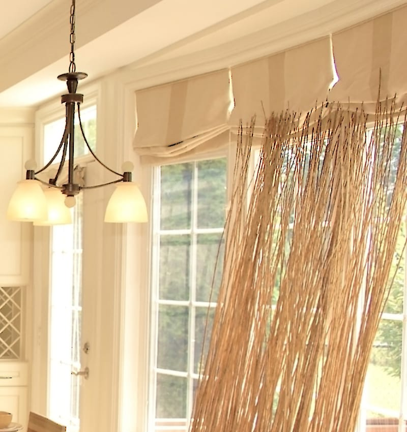 Relaxed Roman Shade Kitchen in Ivory Stripe