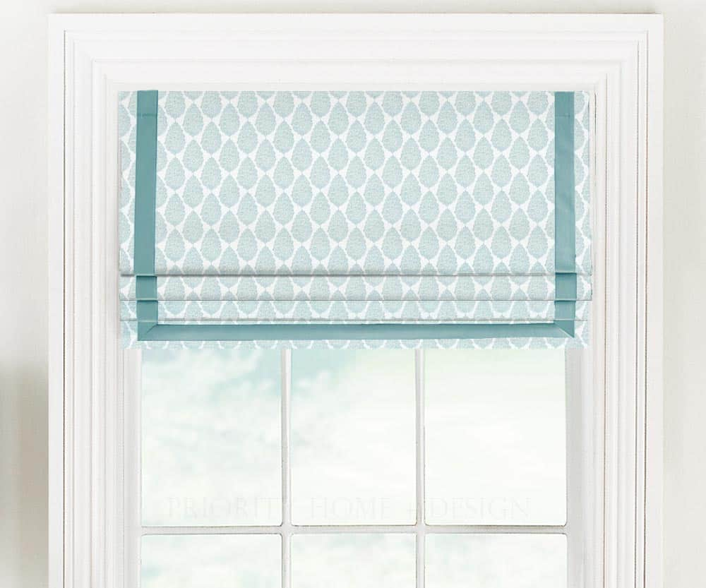Contemporary Floral Medallion Faux Shade with Grosgrain Ribbon
