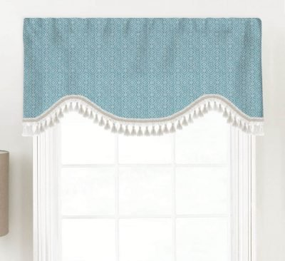 Kennedy (Turquoise or Navy) Shaped Valance Curtain