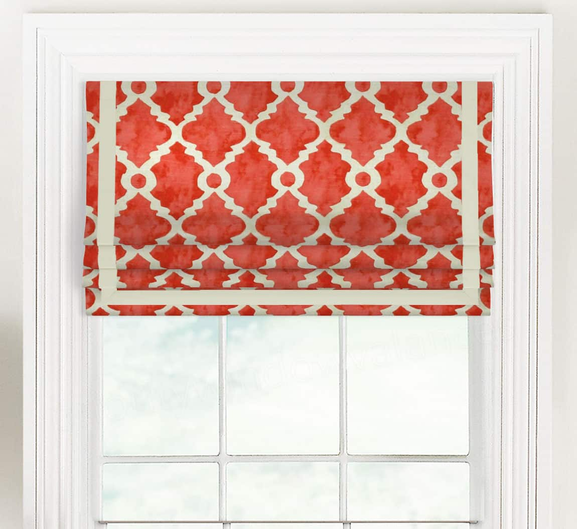 Madrid Teal Gray Red Faux Roman Shade Valance