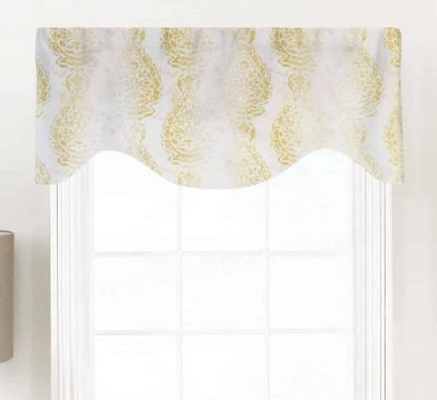 Manchester (Distressed Print Floral Medallion) Shaped Valance Curtain