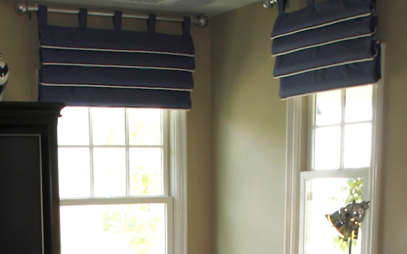 White Piping Detail on Faux Shade Valance