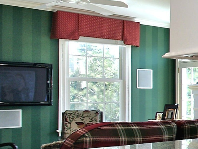 Red Cornice in Traditional Living Room with Green Walls